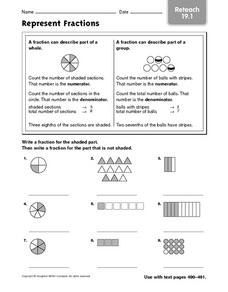 Represent Fractions (Reteach 19.1) Worksheet