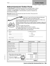 Research and Study Skills: Advertisement/Order Form Worksheet