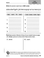 Research and Study Skills: Alphabetical Order and Glossary Worksheet