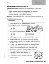 Research and Study Skills: Following Directions Worksheet