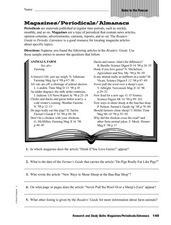 Research and Study Skills: Magazines/Periodicals/Almanacs Worksheet