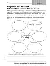 Research and Study Skills: Organize and Present Information/Draw Conclusions Worksheet