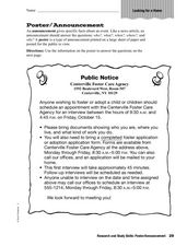 Research and Study Skills: Poster/Announcement Worksheet