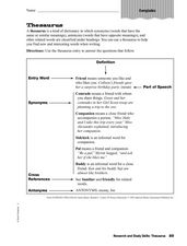 Research and Study Skills: Thesaurus Worksheet