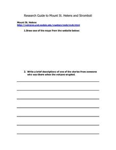 Research Guide to Mount St. Helens and Stromboli Lesson Plan