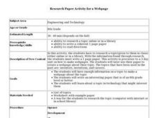 Research Paper Activity for a Webpage Lesson Plan