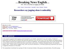 Researchers Say Jogging Alone is Unhealthy-Easier Lesson Worksheet