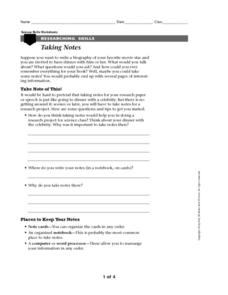 Researching Skills: Taking Notes Worksheet