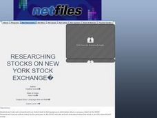 Researching Stocks on New York Stock Exchange Lesson Plan