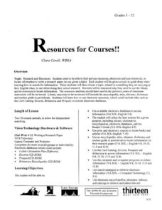 Resources for Courses Lesson Plan