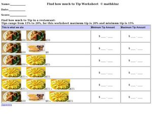 Restaurant Math Worksheet