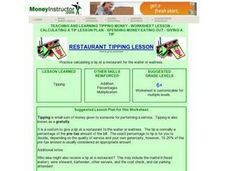 Restaurant Tipping Lesson Lesson Plan