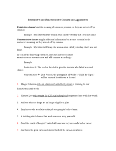 Restrictive and Nonrestrictive Clauses and Appositives Worksheet