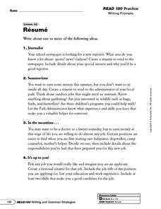 Resume Writing Prompts and Categorizing Information Worksheet