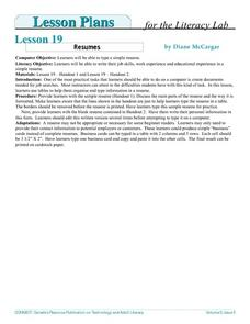 Resumes Lesson Plan
