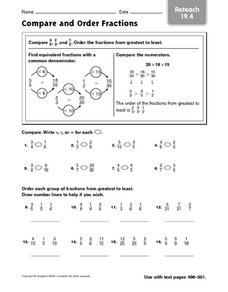 Reteach: Compare and Order Fractions Worksheet