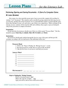Retrieving, Opening and Saving Documents - A Gem of a Computer Game Lesson Plan