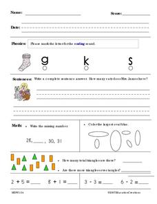 Review Activities in Math and Language Worksheet