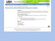 Review of Foundation Mathematics Required for Algebra Lesson Plan