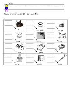 Review of Initial Sounds: B, D, M, N Worksheet