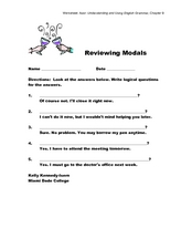 Reviewing Modals Worksheet