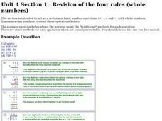 Revision of the Four Rules (Whole Numbers) Worksheet