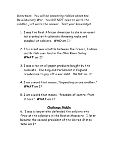 Revolutionary War Riddles Worksheet