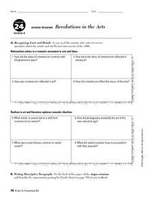 Revolutions in the Arts Worksheet