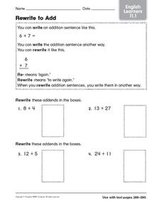 Rewrite to Add: English Learners Worksheet
