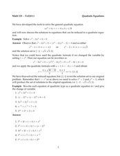 Rewriting and Solving Quadratic Equations Worksheet