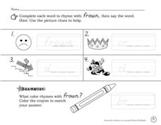 Rhymes With Frown Worksheet