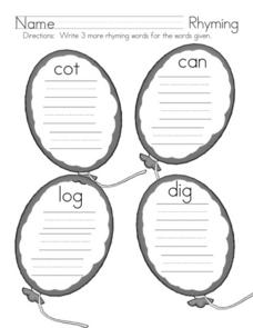 Rhyming 2 Worksheet