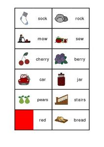 Rhyming Pairs Game Worksheet
