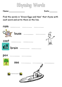 Rhyming Words: Green Eggs and Ham Worksheet