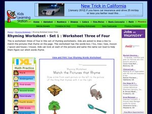 Rhyming Worksheet: Match the Pictures That Rhyme Worksheet