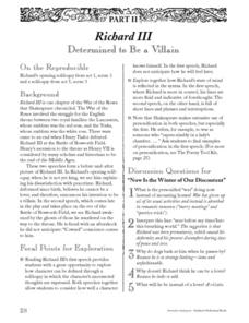 Richard III:  Determined to Be a Villain Lesson Plan