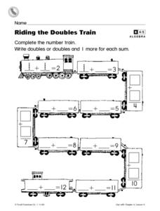 Riding the Doubles Train Worksheet