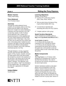 Riding the Pony Express Lesson Plan