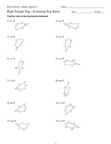 Right Triangle Trigonometry: Evaluating Trigonometric Ratios 10th  12th Grade Worksheet