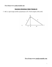 Right Triangle Worksheet