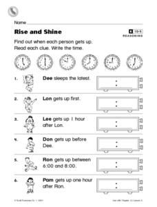 Rise and Shine Worksheet