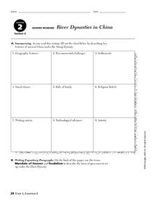 River Dynasties in China Worksheet