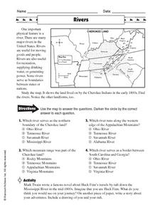 Rivers: Map Activity Worksheet