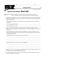 Road Salt Worksheet