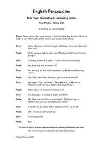 Role Playing-- Going Out: Finding Out Cinema Times Worksheet