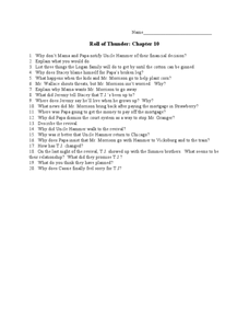 Roll of Thunder, Hear My Cry: Chapter 10 Lesson Plan