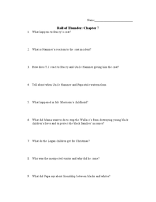 Roll of Thunder, Hear My Cry: Chapter 7 Worksheet
