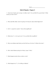 Roll of Thunder, Hear My Cry: Chapter 8 Worksheet