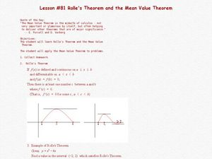 Rolle's Theorem And The Mean Value Theorem Lesson Plan
