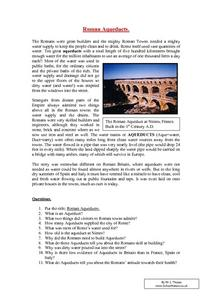 Roman Aqueducts Worksheet